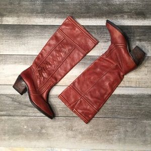 {Fossil} braided riding boots